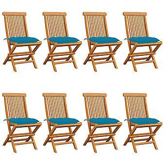 sillas de jardín vidaXL con cojín azul claro 8 piezas de teca de madera maciza