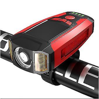 自転車防水フロントライト、USB充電式ライディングランプ(レッド)