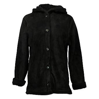 Cuddl Duds Women's Jacket Sherpa With Snap Front Black A381706