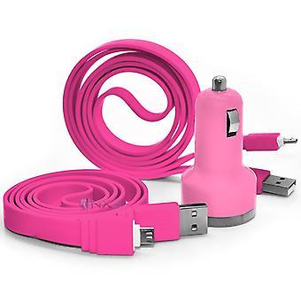 BLU Grand Energy baby rosa en el coche dual puerto 2.1 ampMini bala USB cargador adaptador, incluyendo 2 micro USB cable de carga