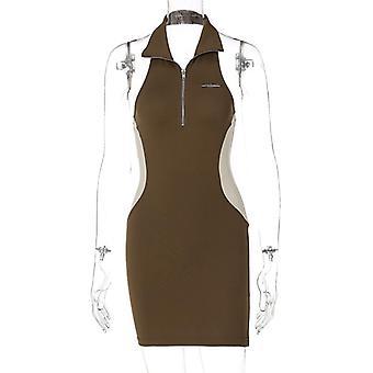 Nowy zamek błyskawiczny sexy slim-fit różne kolory backless sukienka