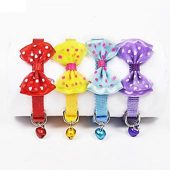 Polyester Dog Collars Pet Collars With Bowknot Bells Charm Necklace Collar For Little Dogs Cat Collars