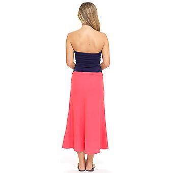 Tom Franks Womens Bias Cut Easy Care Linen Summer Flared Maxi Skirt - Coral - 16