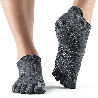 ToeSox Full Toe Low Rise Grip Socks For Barre Pilates Yoga Dance - Charcol Grey