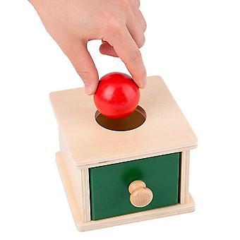 Holzspielzeug Objekt Permanenz Box mit Tablett Holz Münzkasten BallToys Trainingsspielzeug|