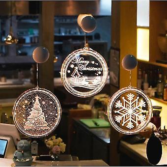 Luces de ventana de Navidad Fairy Light Decoración de Navidad para interiores (copo de nieve)
