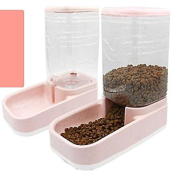 2 Delar uppsättning automatiska fontänskålar för husdjursmatning (Rosa)