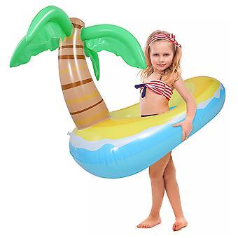 Clispeed aufblasbare Kokosnuss-Baum Schwimmen Ring Kinder Sommer-Party-Schwimmring im Freien leicht aufblasen Schwimmen Float für Pool-Party (120x80cm, blau)