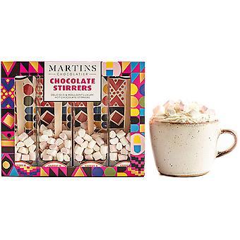 Martin's Chocolatier Hot Chocolate Stirrers (1 Box) Carrot & Cardamom Chocolate | Hot Chocolate Spoons with Marshmallows | Flavoured Chocolate Drink | Belgian Chocolate Gift Set