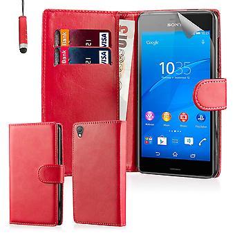 Livre Wallet PU cuir Etui Housse pour Sony Xperia Z3 y compris écran protecteur & stylet - rouge