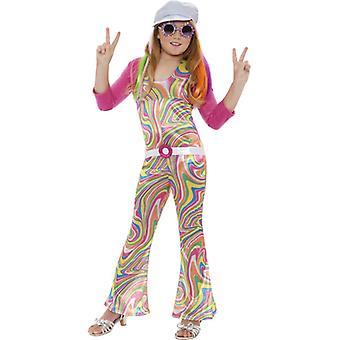 Hippiekostüm 60er Hippie Mädchen Kinderkostüm 6-8 Jahre