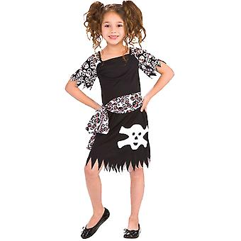 Tamanho S preto 3-5 anos traje pirata do menina fantasia de pirata