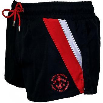 Jockey sida Stripe atletisk simma Shorts, marin med röd