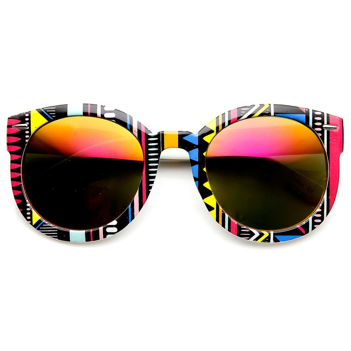 48f744202ea Womens Oversized Native Print Color Mirror Lens Round Sunglasses ...