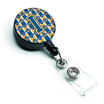Letter I Football Blue and Gold Retractable Badge Reel