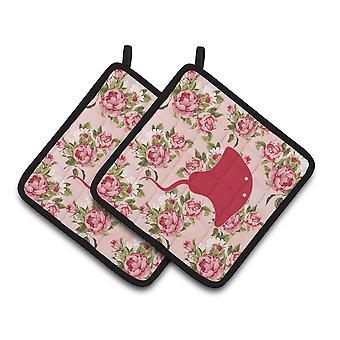 Stingray Shabby Chic rosas par de agarraderas