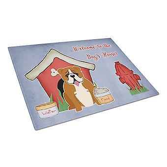 Hond Bulldog huis collectie Engels rood witte glazen snijplank groot