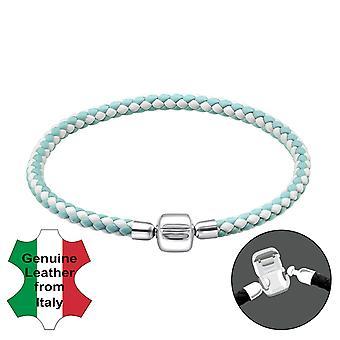 Plain - 925 Sterling Silver + Leather Cord Bead Bracelets - W31499X