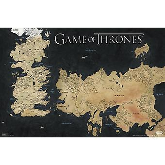 Spill av troner kart kart over Weste plakat plakatutskrift