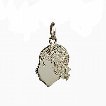 9ct Gold 16x15mm Girl's Head Pendant or Charm