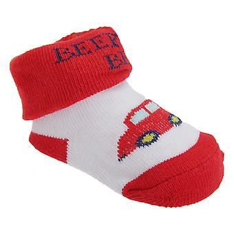 Baby Boys Car Design Bootie Socks With Gift Pouch