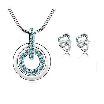 Womens Blue Circle Pendant Necklace With Matching Love Heart Earrings Set