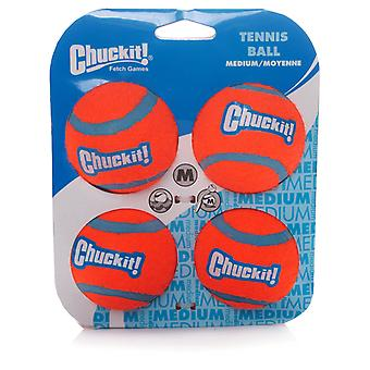 Chuckit Hund Tennis Ball Medium 6,5 cm, 4 Stück, Hundespielzeug