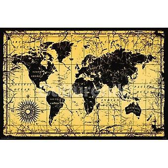 Imprimir cartel estilo viejo mundo mapa (36 X 24)