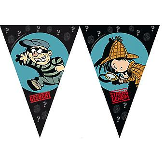 Detective Flo Sleuth pennant ca 3, 60 m long children birthday theme party party birthday