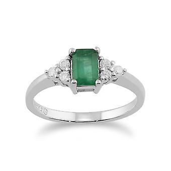 Klassische Baguette Smaragd & Diamant-Ring in 9ct Weißgold 27013