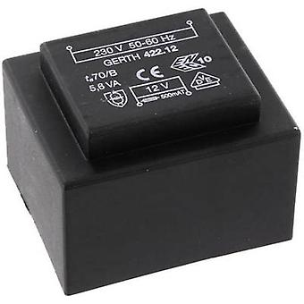 PCB mount transformator 1 x 230 V 2 x 9 V AC 5.60 VA 311 mA PTB421802 Gerth