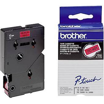 Etichettatura il colore nastro nastro Brother TC TC-401: Font rosso colore: Nero 12 mm 7.7 m