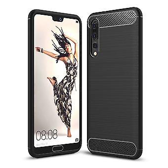 Huawei P20 za TPU sprawa carbon fiber optics szczotkowane etui czarne