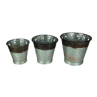 Rustic Metal Deer Cutouts Primitive Bucket Set of 3