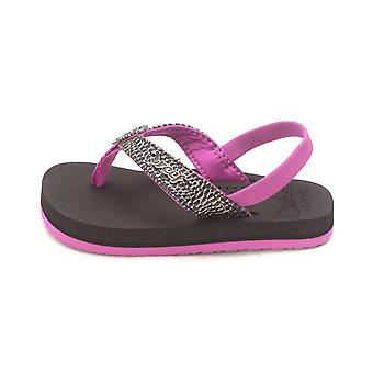Kids Reef Girls Sassy Fabric Pull On Ankle Strap Slide Sandals
