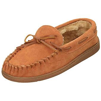 Cushion-Walk Tan Suede Leather Moccasin Warm Slippers