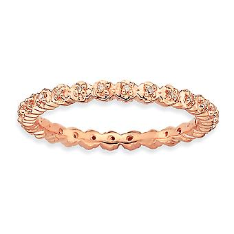 925 Sterling Silver Polished Prong set Patterned Stackable Expressions Diamond Pink plated Ring Jewelry Gifts for Women