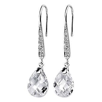 Delar Silver Teardrop krok droppe örhängen - Silver/klar