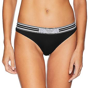Emporio Armani Women Visibility Pop Lines Stretch Cotton Thong, Black, Large