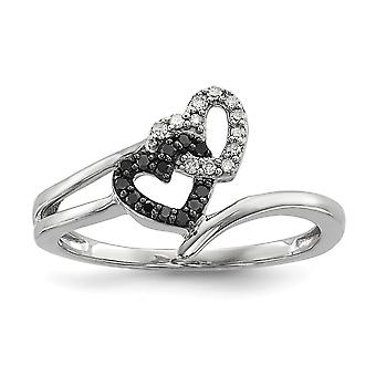 925 Sterling Silver Polished Prong set Open back Gift Boxed Rhodium plated Preto e Branco Diamante Love Heart Ring Jewel