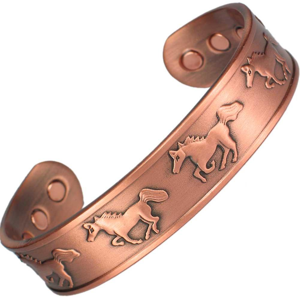 MPS® RUNNING HORSES Pure Copper Magnetic Bangle with 6 Magnets with Gift Pouch