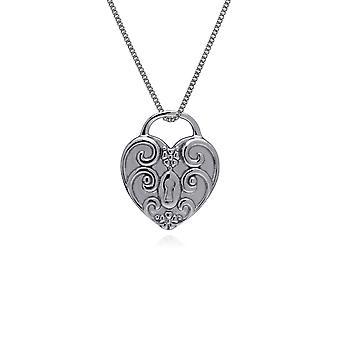 Gemondo Sterling Silver Swirl hjärta lås Charm hängande på 45cm kedja