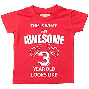 Dies ist was An Awesome 3 Jahr alt aussieht wie Red Tshirt