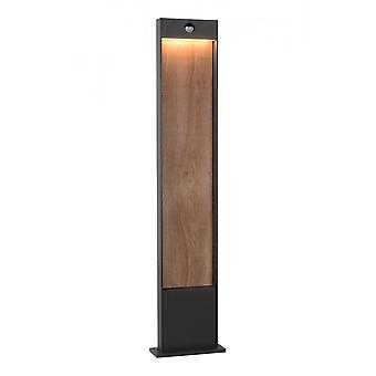 Lucide Jellum Modern Rectangle Aluminum Anthracite And Wood Bollard Light