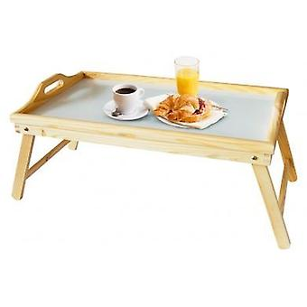 Pine Bed Tray with White Top and Folding Legs