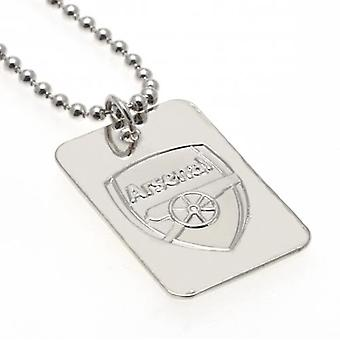 Arsenal Silver Plated Dog Tag & Chain