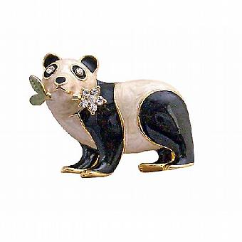 Black & White Brooch Gold Plated Panda Brooch with Flower