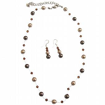 Prom blomsterpige Bronze brune perler & røget Topaz krystaller smykker
