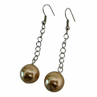 Simple perles Champagne couleur boucles d'oreilles pendantes