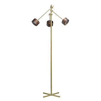 Glasberg - lampada da terra regolabile tre luce LED In raso oro con tonalità di legno 725040803